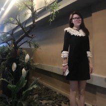 Dress Spring 2021 black S,M,L Short skirt singleton  three quarter sleeve Sweet Lotus leaf collar High waist Solid color Socket A-line skirt pagoda sleeve Others Type A More than 95% organza  polyester fiber princess