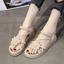 Sandals 35, 36, 37, 38, 39, 40, [collection gift], [free shipping insurance shopping], [quality assurance] Off white, green PU Other / other Barefoot Flat bottom Middle heel (3-5cm) Summer 2021 Trochanter Korean version Solid color Adhesive shoes Youth (18-40 years old) TPR (tendon) daily flower