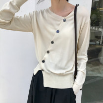 Wool knitwear Winter 2020 Average size Black, apricot Long sleeves singleton  Cardigan other 31% (inclusive) - 50% (inclusive) Regular routine commute V-neck routine Solid color Single breasted Korean version Yu Xiaotiao