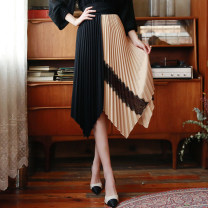 skirt Spring 2021 S,M,L,XL Black contrast Mid length dress commute High waist Irregular Solid color Type A More than 95% knitting polyester fiber Hollowing, folding, Gouhua hollowing, three-dimensional decoration, asymmetry, open line decoration, lace, sticking cloth Ol style