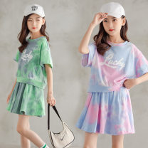suit Other / other Pink, green 120cm,130cm,140cm,150cm,160cm,165cm summer Korean version Long sleeve + skirt 2 pieces routine There are models in the real shooting Socket letter Pure cotton (100% cotton content) Class B Cotton 95% polyurethane elastic fiber (spandex) 5%