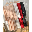 Dress Spring 2021 Black, white, red, pink Average size longuette singleton  Long sleeves commute Crew neck High waist Solid color Single breasted A-line skirt Others 18-24 years old Type A FG414471 other