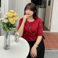 Women's large Spring 2021, summer 2021 White, black, red XL (about 100-140 kg recommended), 2XL (about 140-170 kg recommended), 3XL (about 170-200 kg recommended) Knitwear / cardigan singleton  commute easy moderate Socket Short sleeve Solid color Korean version Crew neck other Collage routine