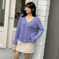 Women's large XL (about 100-140 kg recommended), 2XL (about 140-170 kg recommended), 3XL (about 170-200 kg recommended) Knitwear / cardigan singleton  commute easy thin Cardigan Long sleeves Solid color Korean version V-neck routine other routine 25-29 years old fungus Lotus leaf edge