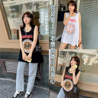 Women's large Spring 2021, summer 2021, autumn 2021 White, black, brown T-shirt singleton  commute easy moderate Socket Sleeveless Cartoon animation, solid color Korean version Crew neck Medium length Others, cotton printing and dyeing 25-29 years old 91% (inclusive) - 95% (inclusive)