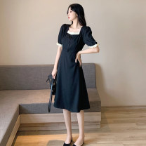 Dress Summer 2021 black S,M,L Mid length dress singleton  Short sleeve commute square neck High waist Solid color Socket A-line skirt routine Others 18-24 years old Type A Korean version GW-LK36835 More than 95% other other