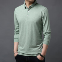 T-shirt Fashion City thin Others Long sleeves Lapel easy Other leisure autumn Cotton 95% polyurethane elastic fiber (spandex) 5% middle age routine Youthful vigor Solid color cotton No iron treatment 90% (inclusive) - 95% (inclusive)