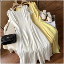 Dress Summer 2020 White, yellow, pink M, L longuette singleton  Short sleeve commute Crew neck Solid color Socket routine 18-24 years old Happy New Year 31% (inclusive) - 50% (inclusive)