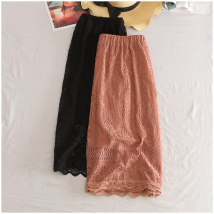 skirt Summer of 2018 Average size Embroidered in black Mid length dress High waist 18-24 years old thirty-one thousand three hundred and ninety-four