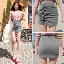 skirt Summer of 2018 XXS,XS,S,M,L,XL Gray, black Short skirt Versatile High waist skirt Solid color Type O 25-29 years old Q8379 51% (inclusive) - 70% (inclusive) brocade Cellulose acetate 201g / m ^ 2 (including) - 250G / m ^ 2 (including)
