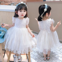 Dress Off white female Other / other Size 7 (reference height 95), size 9 (reference height 100), size 11 (reference height 110), size 13 (reference height 120), size 15 (reference height 130) Other 100% summer lady Short sleeve Netting Cake skirt Chinese Mainland