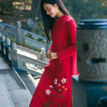 Dress Autumn of 2019 Pink S,M,L longuette singleton  Long sleeves commute stand collar middle-waisted Hand painted Single breasted A-line skirt routine Others Type A She fancy dancing / he Fansi ethnic style Pocket, button H170923F More than 95% brocade cotton