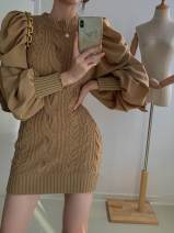 Dress Autumn 2020 Card color Average size Short skirt singleton  Long sleeves commute Crew neck High waist Solid color Socket other other Others 18-24 years old Type O Other / other Korean version 31% (inclusive) - 50% (inclusive) other other