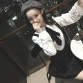 Fashion suit Autumn of 2018 S, M White shirt, plaid skirt 18-25 years old