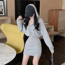 Dress Autumn 2020 Gray, white, black Average size Short skirt singleton  Long sleeves commute Hood High waist Solid color Socket other puff sleeve Others 18-24 years old Other / other Korean version
