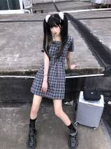 Dress Autumn 2020 Black and white S,M,L Middle-skirt singleton  Short sleeve commute square neck High waist lattice Socket A-line skirt routine Others 18-24 years old Type A Sakura Kawabata Korean version Bandage 31% (inclusive) - 50% (inclusive) other