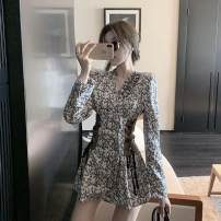 Dress Autumn 2020 Decor S, M Short skirt singleton  Long sleeves commute V-neck High waist Broken flowers A-line skirt routine Others 18-24 years old Type A Other / other Korean version