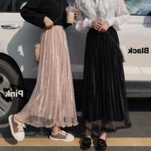 skirt Autumn of 2019 Average size Black, apricot Mid length dress High waist Pleated skirt Solid color 18-24 years old Stitching, 3D