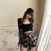 Fashion suit Autumn of 2019 S. M, l, average size T-shirt, plaid skirt 18-25 years old 99993#