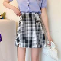 Women's large Summer 2020 black Large XL, large XXL, large L, M singleton  Sweet Straight cylinder thin lattice other Other / other 18-24 years old 31% (inclusive) - 50% (inclusive) Short skirt other college