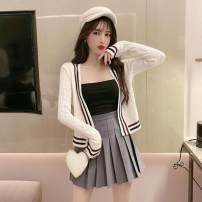 Fashion suit Spring 2020 S,M,L White sweater with bra, black sweater with bra, white sweater with bra, grey skirt three sets, black sweater with bra, black skirt three sets Other / other 8169-03