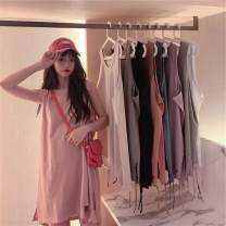 Women's large Summer 2020 Black, white, apricot, army green, gray, orange, blue, purple, pink XL【100-130】,2XL【130-160】,3XL【160-190】 T-shirt singleton  commute easy thin Socket Sleeveless Solid color Korean version Medium length 18-24 years old 71% (inclusive) - 80% (inclusive)