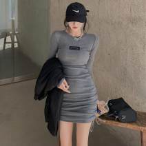 Dress Autumn 2020 Gray, black Average size Middle-skirt singleton  Long sleeves commute Crew neck High waist Solid color One pace skirt routine 18-24 years old Korean version