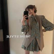 Dress Autumn 2020 Dress, brown vest Average size Short skirt Two piece set Long sleeves commute other Loose waist Broken flowers other puff sleeve Others 18-24 years old Type H Other / other Korean version