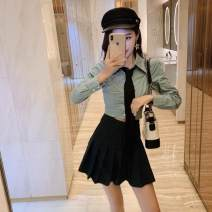 Fashion suit Spring of 2019 S,M,L Green top, white top, green skirt (small), black skirt (small) 18-25 years old Other / other 30% and below cotton