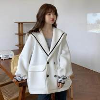 short coat Autumn 2020 Average size Gray, white, black Long sleeves routine routine singleton  easy commute routine Admiral double-breasted Solid color 18-24 years old 71% (inclusive) - 80% (inclusive) Button, stitching polyester fiber