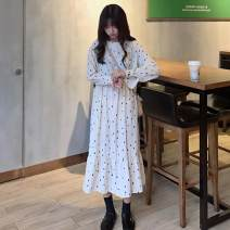 Dress Autumn of 2018 Off white, black Average size Mid length dress singleton  Long sleeves commute Crew neck High waist Dot Socket A-line skirt shirt sleeve 18-24 years old Type A Other / other Korean version