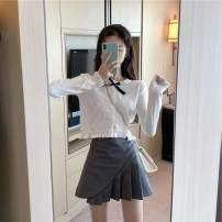 Wool knitwear Autumn 2020 S, M Grey cardigan, white cardigan, white skirt, grey skirt Long sleeves singleton  Cardigan other 31% (inclusive) - 50% (inclusive) have cash less than that is registered in the accounts routine commute Self cultivation Low crew neck routine Solid color Korean version