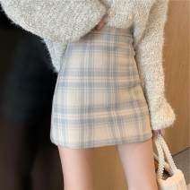 skirt Spring 2020 S, M Blue gray grid Short skirt Versatile High waist A-line skirt lattice Type A 18-24 years old BYW285 81% (inclusive) - 90% (inclusive) other Other / other