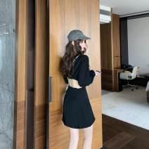 Dress Winter 2020 White, black Average size Short skirt singleton  Long sleeves commute Crew neck High waist Solid color Socket other other 18-24 years old Korean version polyester fiber