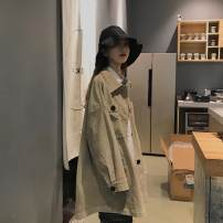 short coat Spring of 2019 S,M,L No chest bag buckle black, no chest bag buckle khaki Long sleeves routine routine singleton  Straight cylinder Original design routine square neck Single breasted Solid color 18-24 years old 91% (inclusive) - 95% (inclusive) cotton cotton