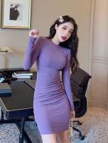 Dress Winter of 2019 Lemon yellow, purple flowers, tangerine powder, classic black, cinnabar, green grass Average size Mid length dress singleton  Long sleeves commute Crew neck High waist Solid color Socket A-line skirt routine Others 18-24 years old Type A Other / other Korean version