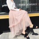 skirt Spring of 2018 Average size Apricot, grey, black, pink Versatile High waist Fluffy skirt Solid color Type A 18-24 years old 71% (inclusive) - 80% (inclusive) other Other / other other Mesh, stitching