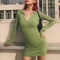 Dress Autumn 2020 Dark gray, black, army green, medium khaki, red bean, fruit green S, M Short skirt Long sleeves street Polo collar High waist Solid color Socket One pace skirt routine Others 18-24 years old Type H thread More than 95% knitting cotton Europe and America