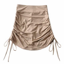 skirt Summer 2020 S,M,L White, gray, black, khaki Short skirt street High waist skirt Solid color Type A 18-24 years old 91% (inclusive) - 95% (inclusive) cotton Pleating Europe and America