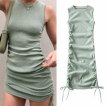 Dress Summer 2020 Black (short sleeve), beige (short sleeve), sky blue (short sleeve), caramel (short sleeve), fruit green (short sleeve), black (VEST), beige (VEST), sky blue (VEST), fruit green (VEST), caramel (VEST) S,M,L Short skirt singleton  Short sleeve street Crew neck High waist Socket