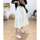 skirt Summer 2021 Average size White, black Mid length dress commute High waist A-line skirt Type A 20618 solid skirt Other / other cotton Korean version