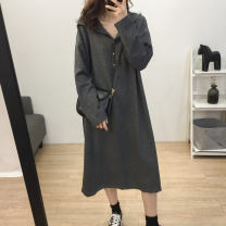 Dress Autumn of 2018 dark grey Average size longuette singleton  Long sleeves commute Hood Loose waist routine Other / other Korean version Button 99 Hooded Dress 51% (inclusive) - 70% (inclusive) cotton
