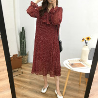 Dress Autumn of 2019 Average size longuette singleton  Long sleeves commute other Loose waist Dot Socket Pleated skirt routine Type A Other / other Korean version More than 95% Chiffon