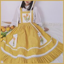skirt Spring 2021 S,M,L yellow Middle-skirt Rococo Natural waist A-line skirt Decor Type A 18-24 years old other cotton