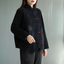 short coat Winter 2020 Average size Black pattern, black spot Long sleeves routine routine singleton  Straight cylinder commute routine stand collar Single breasted Solid color 96% and above Embroidery cotton