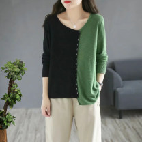 Wool knitwear Spring 2021 Average size Black with green, red with coffee, black with blue, dark green with coffee Long sleeves cotton More than 95% Regular commute easy routine
