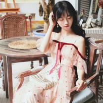 Dress Bohemia Summer 2020 longuette Short sleeve Sweet Dot Princess sleeve camisole Lace S,M,L
