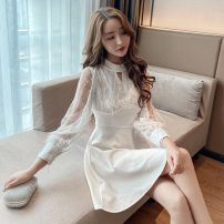 Dress Spring 2021 White, black S,M,L Short skirt singleton  Long sleeves commute other High waist Solid color Socket other other Others 18-24 years old Korean version 31% (inclusive) - 50% (inclusive) other