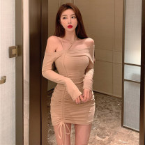 Dress Spring 2021 Khaki, black Average size Short skirt singleton  Long sleeves One word collar Solid color routine Hanging neck style 51% (inclusive) - 70% (inclusive) cotton