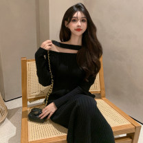 Dress Spring 2021 Black dress Average size Mid length dress singleton  Long sleeves commute other High waist Solid color Socket other routine Others Splicing 51% (inclusive) - 70% (inclusive) cotton
